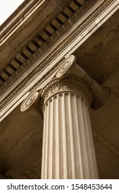 Low-angle view of a Column with Ionic Capital at The Treasury Department Building in Washington, DC