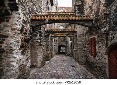 Low-angle view of St. Catherines Passage in Tallinn, Estonia, a medieval passage containing some of the old remainings of a Dominican Monastery in the city.