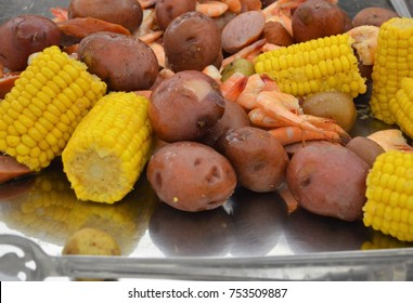 lowcountry boil on silver platter