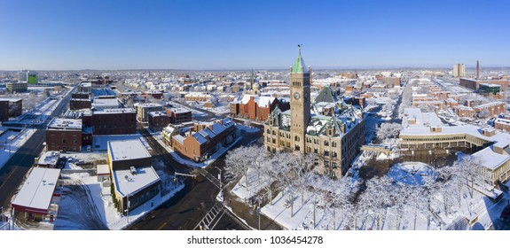 Lowell City Hall and downtown aerial view panorama in downtown Lowell, Massachusetts, USA.