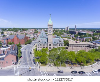 Lowell City Hall and downtown aerial view in downtown Lowell, Massachusetts, USA.