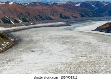 Lowell glacier cuts through the mountains in Kluane National Park, Yukon, Canada