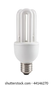 Low-energy compact fluorescent lamp for domestic use isolated on white