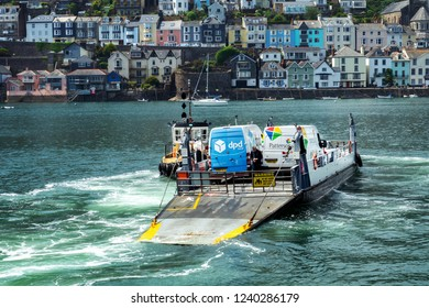 Lower car ferry between Dartmouth and Kingswear with delivery vans, South Devon, England, The United Kingdom, June 23, 2018.