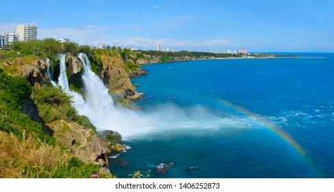 Lower Duden waterfall, Antalya. Lara region. Panorama.