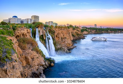 Lower Duden waterfalls on Mediterranean sea coast, Antalya, Turkey, in sunset light