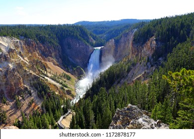 Lower Falls Lookout point, Grand Canyon of Yellowstone National Park, Wyoming, USA