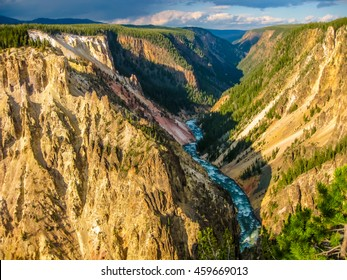 Lower Falls, most popular waterfall in Yellowstone, located on head of the Grand Canyon in Yellowstone River. The yellow rocks gave name of Yellowstone National Park, Wyoming, United States.