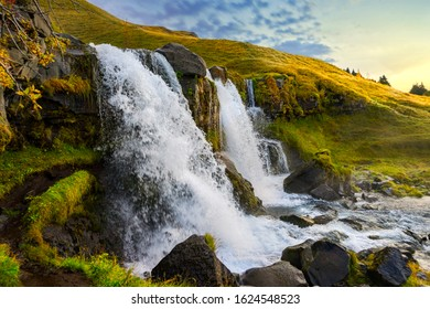Lower Gluggafoss waterfall in the southern part of Iceland. A cascading waterfall