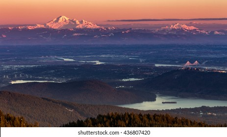 lower mainland at dusk from Grouse Mountain, British Columbia, Canada