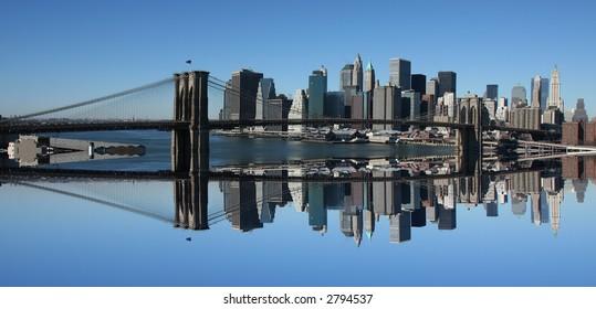 Lower Manhattan and Brooklyn Bridge reflection