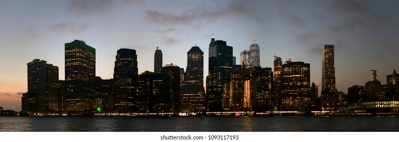 Lower Manhattan buildings as viewed from the East river in New York City.