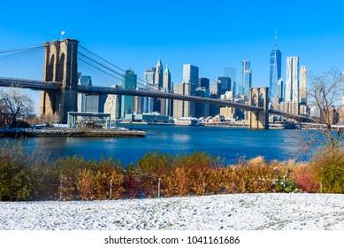 Lower Manhattan Downtown skyline panorama from Brooklyn Bridge Park riverbank, New York City, USA