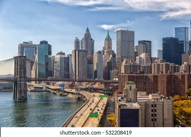 Lower Manhattan with FDR Drive and Brooklyn bridge view
