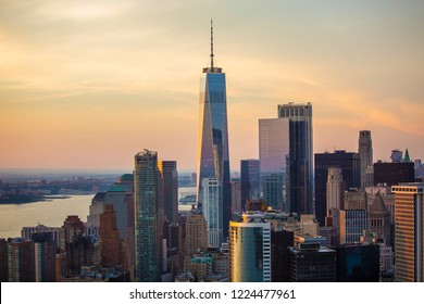 Lower Manhattan and Financial District skyline aerial view, New York