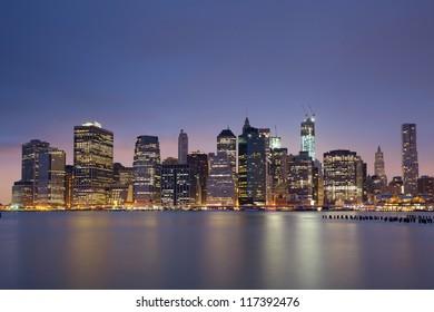 Lower Manhattan. Image of Lower Manhattan at twilight blue hour.