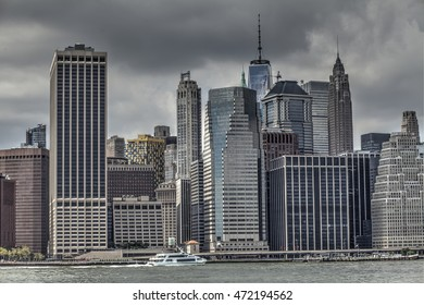 Lower Manhattan, New York, Aug. 20, 2016: skyline of Lower Manhattan with the East River and the Freedom Tower. Aug. 20, 2016 in New York.