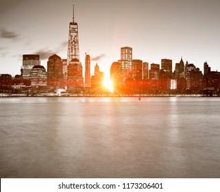 Lower Manhattan in New York City at sunrise