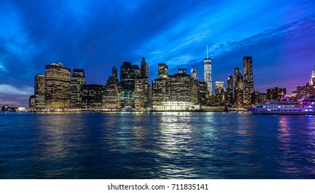 Lower Manhattan, New York - Financial District skyline viewed from the Brooklyn Park at the end of the blue hour