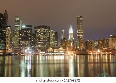 Lower Manhattan At Night, New York City