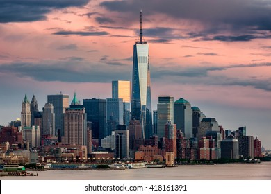 Lower Manhattan and One World Trade Center in New York City, USA as seen from Weehawken New Jersey