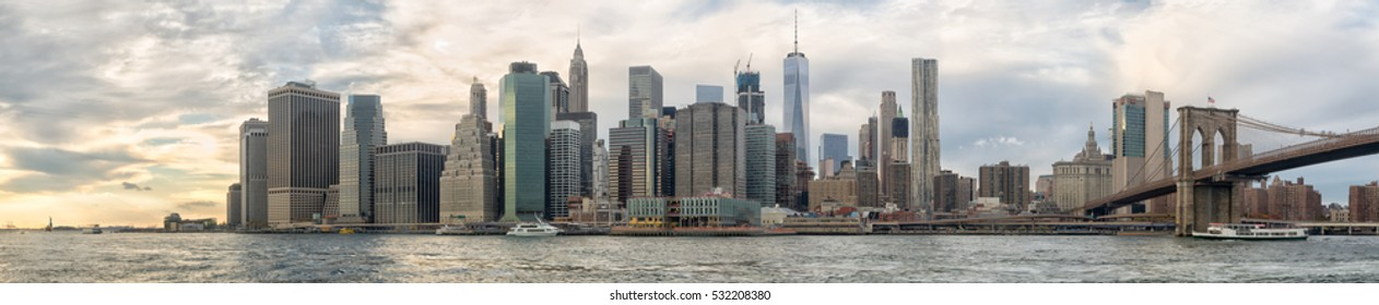 Lower Manhattan Panorama with Brooklyn Bridge
