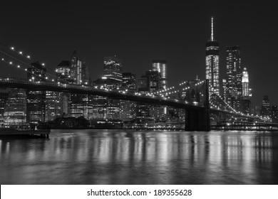 Lower Manhattan Panoramic Skyline and Brooklyn Bridge, New York