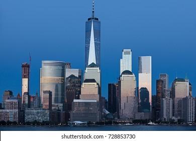 Lower Manhattan Skyline at blue hour, NYC, USA