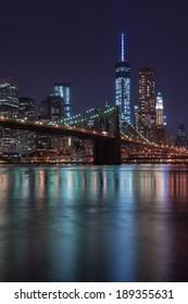 Lower Manhattan Skyline and Brooklyn Bridge, New York