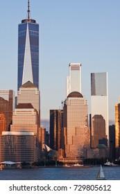 Lower Manhattan Skyline at golden hour, NYC, USA