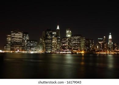 Lower Manhattan skyline at night, from Brooklyn - New York City, USA