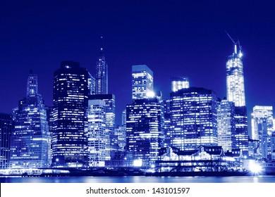 Lower Manhattan Skyline At Night, New York City