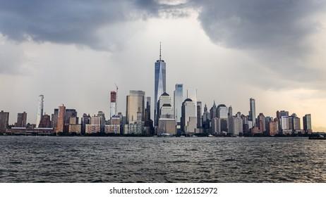 Lower Manhattan Skyline on a cloudy day, NYC, USA