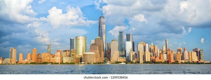 Lower Manhattan skyline panorama over Hudson River, New York