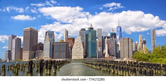 Lower Manhattan skyline panorama view from Brooklyn, New York