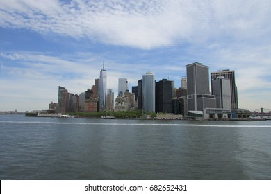 Lower Manhattan skyline from Staten Island Ferry, Manhattan, New York, USA