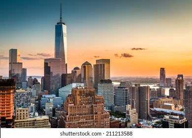 Lower Manhattan skyline at sunset