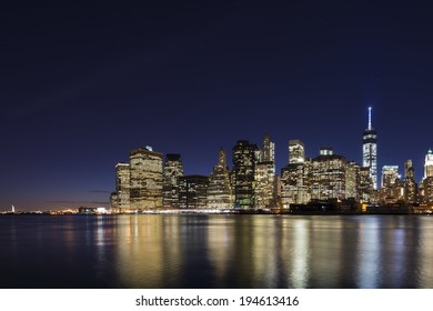 Lower Manhattan Skyline at twilight.
