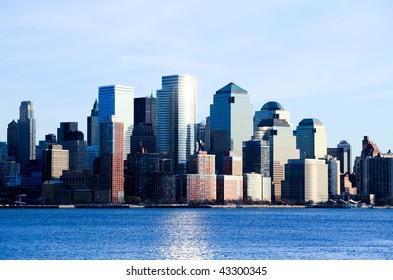 Lower Manhattan skylines at sunset in USA