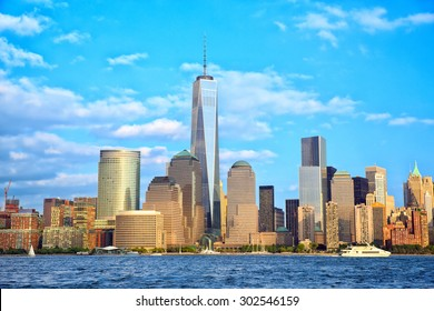 Lower Manhattan skyscrapers and One World Trade Center, New York City