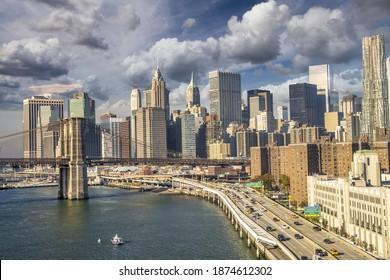 Lower Manhattan sunset skyline as seen from Brooklyn, USA.