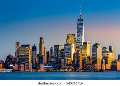 Lower Manhattan at sunset viewed from Hoboken, New Jersey