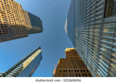 Lower Manhattan urban skyscrapers in New York City