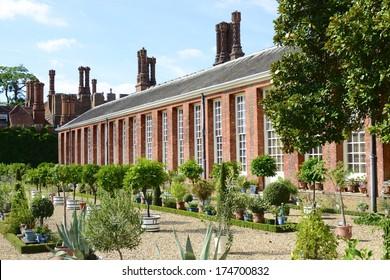 Lower Orangery Exotics Garden at Hampton Court Palace, East Molesey, Surrey, UK