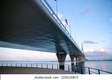 lower part of the bridge of the Constitution, called La Pepa, in the bay of Cádiz, Andalusia. Spain. Europe