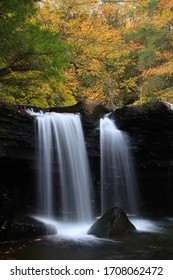 Lower potter falls in Obed national scenic river in Eastern Tennessee during peak falls colors - Shutterstock ID 1708062472