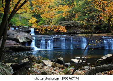 Lower potter falls in Obed national scenic river in Eastern Tennessee during peak falls colors - Shutterstock ID 1908967474