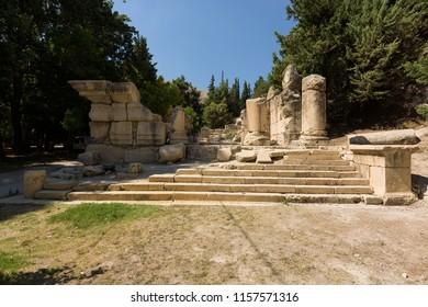 The Lower Roman temple of Niha, a landmark in the Bekaa Valley, Lebanon.