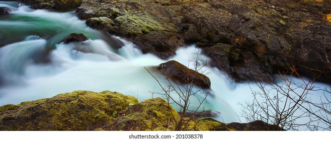 The lower run of the Salmon Cascades on the Sol Duc River in Olympic National Park, Washington, USA