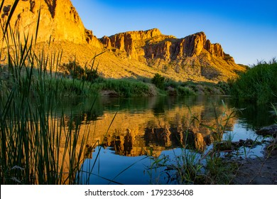 The Lower Salt River along the Goldfield Mountains in Arizona